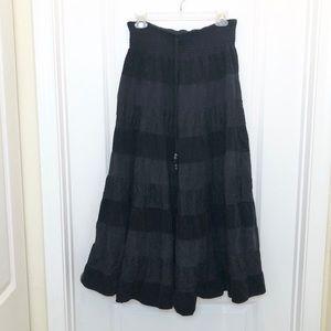 Anthropologie Lapis Corduroy Lace Black Maxi Skirt